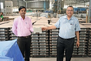 """<div class=""""bildtext_en"""">CEO Sudhakar Mody (right) and one of his employees proudly present concrete products made by Super Tiles &amp; Marbles</div>"""