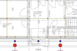 """<div class=""""bildtext_en"""">Data processing center, section of the floor plan showing the position of the foundation grounding system (red) and lightning protection (blue)</div>"""