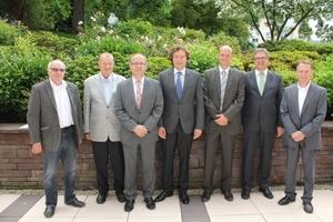 Vorstand und Geschäftsführung des Güteschutz Beton- und Fertigteilwerke Baden-Württemberg e. V. (v. l.): Wolfgang Rüger, Peter Klotzek, Steffen Patzschke, Wilfried Röser, Thomas Aicheler, Dr. Ulrich Lotz, Hans-Peter Bürkle
