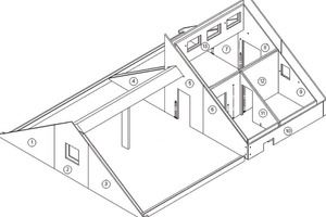 Fig. 2 and 3 Residential building with core-insulated double walls. Attic story and section details.