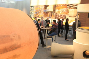 As usual, the booth of Schlüsselbauer Technology provided ample space to showcase finished pipe products …