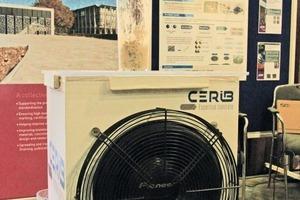 """<div class=""""bildtext"""">Modell eines neuen Vibrationsverfahrens mit Schallwellen am Ausstellungsstand des """"Centre d'Études &amp; de Recherches de l'Industrie du Béton"""" (CERIB)</div>"""
