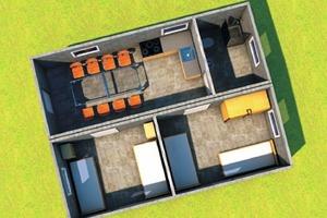 "<div class=""bildtext_en"">3D presentation of a living shelter in the XLversion </div>"