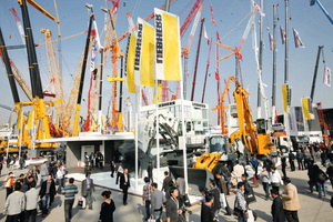 Liebherr outdoor booth at the Bauma China 2012. This year Liebherr shows it  construction and mining equipment at outdoor booth B12 and its components at indoor booth No. 128 / hall N4