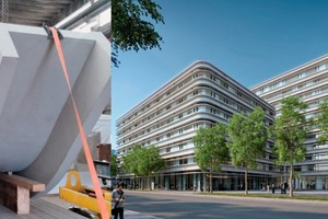 """<div class=""""bildtext_en"""">→ Tic Tric Trac commercial/office building, Zurich-Binz. Round element attheprecast plant – design of the completed project</div>"""