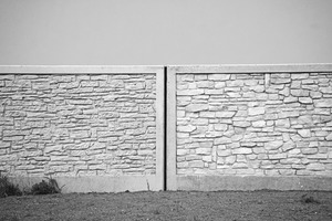 The difference between concrete and real natural stone is hard to recognize on this black-and-white photo