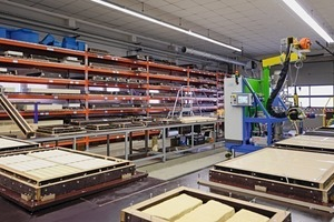 View into the production hall for wet-cast molds at Wasa. The company is using polyurethane systems that are especially developed for the concrete industry